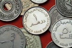 Monedas de los United Arab Emirates imagen de archivo libre de regalías