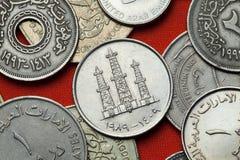 Monedas de los United Arab Emirates Torres de perforación de aceite fotos de archivo libres de regalías