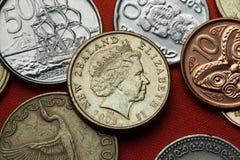 Monedas de Nueva Zelanda Reina Elizabeth II Foto de archivo
