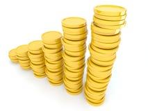 Monedas de oro 3D. Aislado en el fondo blanco ilustración del vector