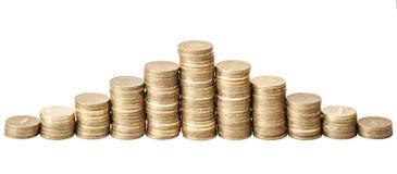 Monedas de oro Fotografía de archivo libre de regalías