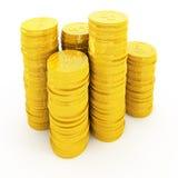 Monedas de oro aisladas en blanco Fotografía de archivo