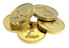 Monedas de oro aisladas en un fondo blanco. stock de ilustración