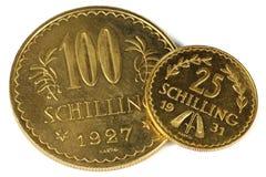 Monedas de oro austríacas Imágenes de archivo libres de regalías