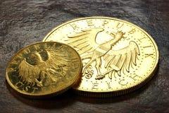 Monedas de oro austríacas Fotografía de archivo