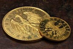 Monedas de oro austríacas Foto de archivo libre de regalías