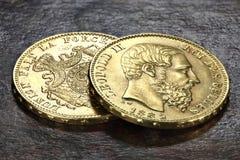 Monedas de oro belgas Foto de archivo libre de regalías