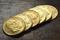 Monedas de oro belgas Fotografía de archivo libre de regalías