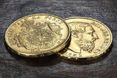 Monedas de oro belgas Fotos de archivo libres de regalías