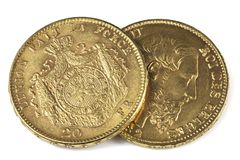 Monedas de oro belgas Fotos de archivo