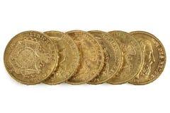 Monedas de oro belgas Imágenes de archivo libres de regalías