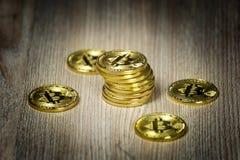 Monedas de oro de Bitcoin en una tabla de madera foto de archivo