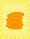 Monedas de oro como muestra de la riquezas Imagen de archivo libre de regalías