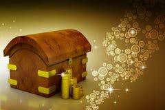 Monedas de oro con el envase Fotografía de archivo