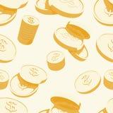 Monedas de oro con la muestra de dólar Fotografía de archivo