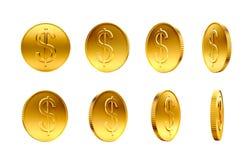 Monedas de oro con la muestra de dólar Imágenes de archivo libres de regalías