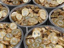 Monedas de oro con símbolo del dólar Imagenes de archivo