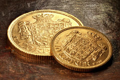 Monedas de oro danesas foto de archivo libre de regalías