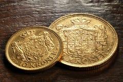 Monedas de oro danesas fotografía de archivo libre de regalías