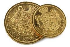 Monedas de oro danesas imagen de archivo libre de regalías