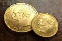 Monedas de oro danesas foto de archivo