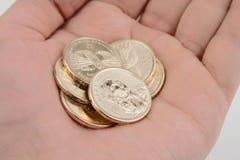 Monedas de oro de la explotación agrícola de la mano Foto de archivo libre de regalías