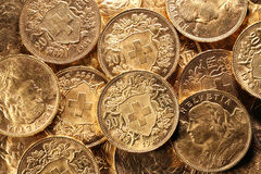 Monedas de oro de Vreneli del suizo fotos de archivo libres de regalías