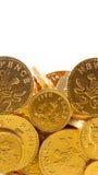 Monedas de oro del chocolate Foto de archivo libre de regalías
