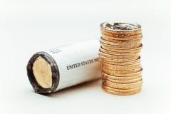 Monedas de oro del dólar Fotografía de archivo libre de regalías