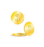 Monedas de oro del dólar Fotos de archivo libres de regalías
