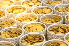 Monedas de oro del dinero Foto de archivo