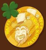 Monedas de oro del duende para el día de St Patrick, ejemplo del vector Fotografía de archivo