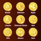 Monedas de oro del logotipo de la moneda de Cripto ilustración del vector