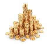 Monedas de oro del montón 3D. Concepto del asunto. en blanco libre illustration