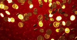 Monedas de oro del vintage Fondo del concepto del negocio y de las finanzas representación 3d almacen de video