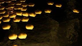 Monedas de oro, discos del metal, representación 3D Foto de archivo libre de regalías