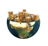 Monedas de oro en hemisferio de la tierra libre illustration