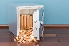 Monedas de oro llenas de la caja segura en el piso, representación 3D Fotos de archivo libres de regalías