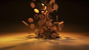 Monedas de oro que caen aisladas fotografía de archivo
