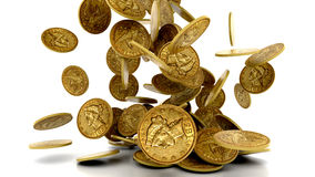 Monedas de oro que caen aisladas imagenes de archivo