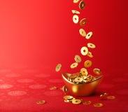 Monedas de oro que caen en el oro Sycee - Yuanbao stock de ilustración