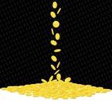 Monedas de oro que caen que juegan el fondo Imagen de archivo