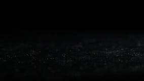 Monedas de oro que caen sobre fondo oscuro. Tiro macro. almacen de metraje de vídeo
