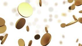 Monedas de oro que suben en blanco Animación colocada hermosa con el DOF libre illustration