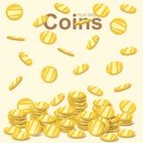 Monedas de oro que vuelan, moneda de oro que cae, pila del dinero, vector plano del diseño Fotos de archivo