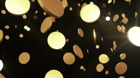 Monedas de oro que vuelan para arriba en negro Animación colocada hermosa HD 1080 stock de ilustración
