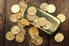 Monedas de oro suizas Imagen de archivo libre de regalías