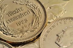 Monedas de oro turcas Imagen de archivo