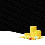 Monedas de oro y piedras preciosas que juegan el fondo Fotografía de archivo libre de regalías