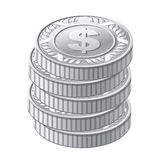 Monedas de plata Imagen de archivo libre de regalías